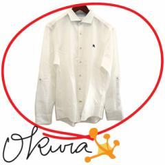 バーバリー ブラックレーベル ワイシャツ メンズ 古着 ホワイト 白 サイズ 3 コットン リネン 長袖 Yシャツ BURBERRY BLACK LABEL ワイシ