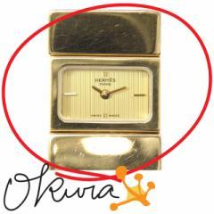 エルメス 腕時計 ロケ 中古 レディース L01.201 クォーツ GP リザード HERMES 電池式 ダークブルーグリーン系 レザー 革 送料無料 激安