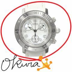 エルメス 腕時計 クリッパー ダイバー クロノ 中古 レディース CL2.310 クォーツ SS 革ベルト ヴォーエプソン HERMES 電池式 クロノグラ