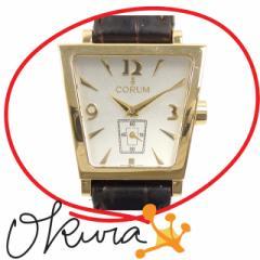 コルム 腕時計 中古 メンズ 105.404.56 クォーツ K18YG 革ベルト CORUM 電池式 メンズウォッチ レザー 18金 750 イエローゴールド 送料無