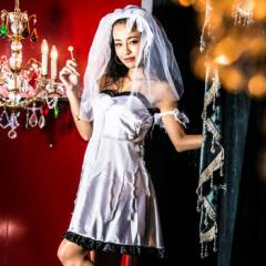 【即納】ハロウィン ウェディング costume【コスチューム】スプラッターブライド ホラー コスプレ 衣装 ゾンビ