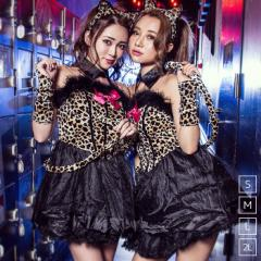 【即納】ハロウィン コスプレ セクシー豹(ヒョウ)アニマル 5点セット(ワンピース、カチューシャ、付け襟、リボン)