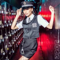 【即納】ハロウィン 衣装  仮装 セクシーロンドンポリス 7点セット(シャツ、ネクタイ、ベスト、スカート、帽子、手錠、無線機)