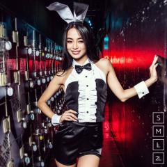 【即納】バニー 4点セット(トップス、パンツ、カフス、カチューシャ)/黒(ブラック)ハロウィン コスプレ