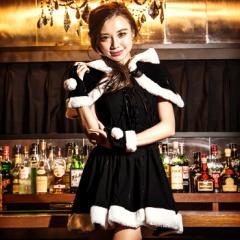 【即納】costume【コスチューム】ケープ付き レースアップ ブラックサンタ3点セット (ワンピ、ケープ、カフス)サンタ コスプレ ブラック
