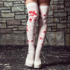 血のり柄ホワイトニーハイソックス【ゆうパケット2】ハロウィン 仮装 プチ衣装 グループ 可愛い 宴会 余興 血のり 靴下 ニーハイ