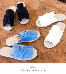 【即納】【SALE】Dita【ディータ】ひねりりぼんサンダル/全2色  靴 サンダル レディース ヒール 歩きやすい