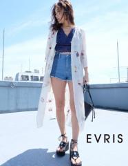 【即納】【SALE】EVRIS【エヴリス】LILY EMBROIDERYシフォンロングガウン/全3色[OUT]カーディガン 羽織り レディース ロングカーデ