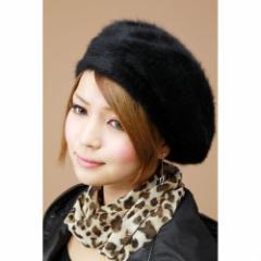 ファー ベレー帽 帽子 レディース レディス/ゆったり ふわふわアンゴラ ラビットファー ベレー帽/ブラック