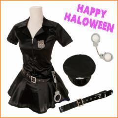 ポリスガール 衣装 フリーサイズ ☆★4点セット★☆ ワンピース 帽子 ベルト 手錠 セット コスプレ ハロウィン 警官