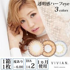 VIVIAN TOKYO collection 透明感ハーフeye 度あり マンスリー 1ヶ月 1箱1枚入×2セット 全3色 DIA14.5mm 14.2mm カラコン