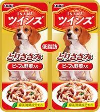 【いなばペット】ツインズ とりささみ&ビーフ 野菜入り 40gx2P