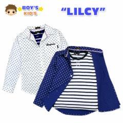 【男児キッズ】【アンサンブル】LILCY ボーダー柄Tシャツ付き 刺繍入りドット柄長袖シャツアンサンブル【ネコポスOK】