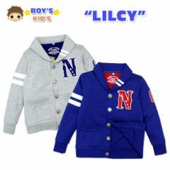 【男児キッズ】【ジャケット】LILCY 刺繍入り ボタン式ミニ裏毛加工長袖ジャケット【ネコポス不可】
