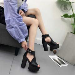 【エルエス】【0321NEW】アンクル サンダル/オープントゥ/厚底/太ヒール/ブラック