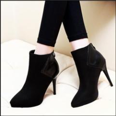 【エルエス】【0831NEW】切替素材 スエード 合皮 ピンヒール ショート ブーツ