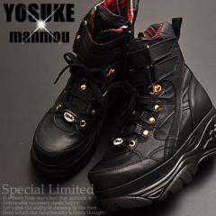 即納!厚底スニーカー ブーツタイプ レディース ハイカット 黒 YOSUKE U.S.A ヨースケ