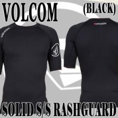 VOLCOM/ボルコム  メンズ半袖ラッシュガード SOLID S/S BLACK UPF50+  男性用水着 UVカット 0111600