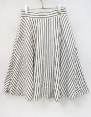 SLY(スライ)白×グレーストライプミディフレアスカート//新品//1