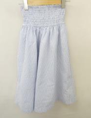 DURAS(デュラス)白×青ストライプハイウエストフレアスカート//新品