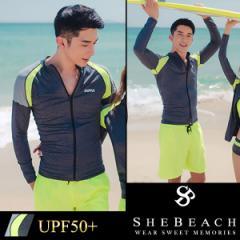 水着 メンズ ラッシュガード 長袖 単品 韓国 ファッション SHEBEACH シービーチ 正規品 体型カバー かっこいい お洒落