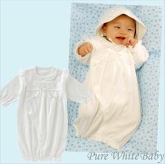 ピュアホワイト新生児ツーウェイオール/赤ちゃん ベビー ベビーサイズ ベビー服 新生児 男の子 女の子 保育園