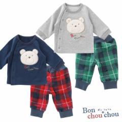 *ボンシュシュ*くまさん前開きトレーナー&ズボンセット[ベビー服][赤ちゃん][ベビー][トップス][男の子][女の子]【60cm・70cm・80cm】