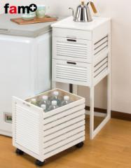 fam+/ファムプラス 木製 キッチンストッカー キッチンワゴン 4段 ブラウン ホワイト