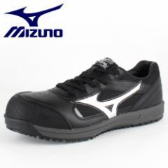 MIZUNO ミズノ オールマイティ 紐タイプ C1GA160009 ブラック×シルバー ワーキング スニーカー 安全靴 セーフティーシューズ 作業靴 メ