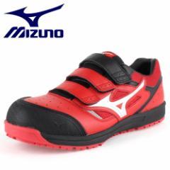 MIZUNO ミズノ オールマイティ ベルトタイプ C1GA160162 レッド×シルバー×ブラック ワーキング スニーカー 安全靴 セーフティーシュー