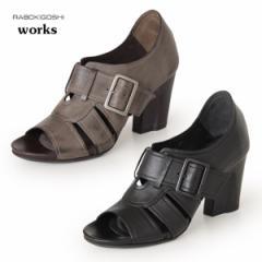 RABOKIGOSHI works 靴 ラボキゴシ ワークス 11831 本革 サンダル オープントゥ ヒール パンプス ブーツサンダル レディース