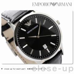 エンポリオ アルマーニ クラシック 腕時計 メンズ デイト ブラック レザーベルト EMPORIO ARMANI AR2411