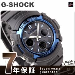 【あす着】CASIO G-SHOCK G-ショック 電波 ソーラー スタンダードモデル アナデジ ブラック×ブルー AWG-M100A-1AER