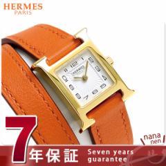 【あす着】【今ならショッパー プレゼント♪】エルメス H ウォッチ ミニ 二重巻き 腕時計 039351WW00 ホワイト×オレンジ 新品