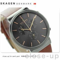 【あす着】スカーゲン クロノグラフ アンカー メンズ クオーツ SKW6106 SKAGEN 腕時計 グレー×ブラウン レザーベルト