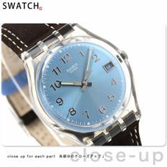 【あす着】スウォッチ スタンダードジェント スイス製 腕時計 デイト ライトブルー×ブラウンレザー Swatch GM415
