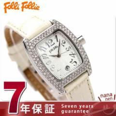 フォリフォリ 腕時計 レディース アイボリー レザーベルト Folli Follie S922ZI-SLV-IVY