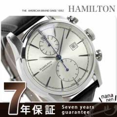 【あす着】ハミルトン 自動巻き スピリットオブ リバティ メンズ H32416781 HAMILTON 腕時計 クロノグラフ シルバー×ブラック レザーベ