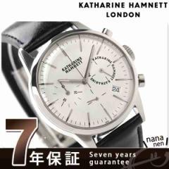 【あす着】キャサリン ハムネット クロノグラフ 6 日本製 メンズ KH20C5-14 KATHARINE HAMNETT 腕時計 クオーツ シルバー×ブラック レザ