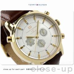 トミー ヒルフィガー 腕時計 メンズ マルチファンクション シルバー×ブラウン レザーベルト TOMMY HILFIGER 1790874