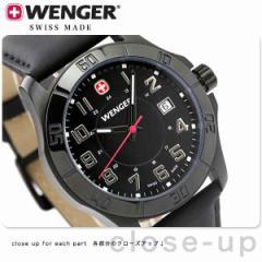 ウェンガー 腕時計 メンズ アルパイン デイト オールブラック レザーベルト WENGER 70475