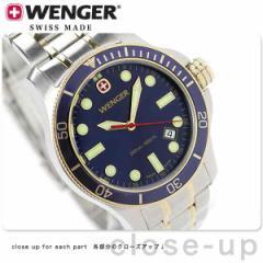 ウェンガー バタリオン ダイバー メンズ 腕時計 W72346 WENGER クオーツ ネイビー×ゴールド