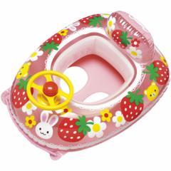 ベビーウキワ 浮き輪 ベビー 乳幼児 子供 用 ベビーボート ハンドル付 どうぶついちご 75×60cm MHR-160 (ig-0310)
