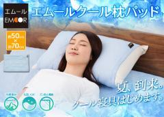 エムールクール 接触冷感 クールレーヨン 枕パッド 50×70cm ひんやり 冷却マット ピロケース まくらパッド ピロカバー 枕カバー