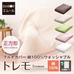 綿100%ウォッシャブルマルチカバー 『トレモ』 約200×200cm 正方形 約2畳 マルチクロス ベッドカバー ソファカバー ラグ こたつ