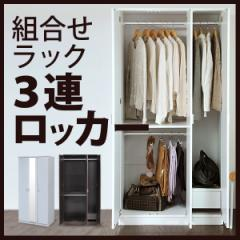 組み合わせハンガーラック 3連ロッカータイプ 壁面収納 衣類収納 洋服 クローゼット コートハンガー パイプハンガー エムール
