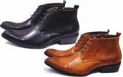 (B倉庫)ALFRED GALLERIA AG1164 メンズブーツ メンズチャッカーブーツ ヒール高4.5cmで脚長効果【送料無料】
