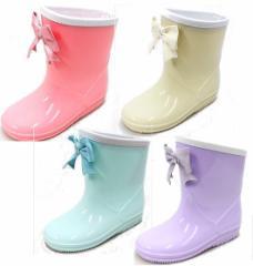 (A倉庫)GAME 538 子供長靴 レインシューズ レインブーツ キッズ ジュニア 女の子 リボン