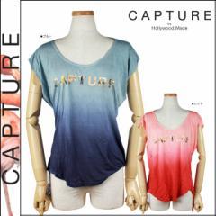 キャプチャー CAPTURE by Hollywood Made 半袖Tシャツ ブルー レッド C-SM12-4-18-WS LOGO COLLEGE SHREDDED レーヨン レディース