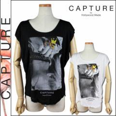 キャプチャー CAPTURE by Hollywood Made 半袖Tシャツ ブラック ホワイト C-SM12-3-11-WS SKULL FRIENDS SHREDDED レーヨン レディース